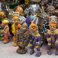 West African sculpture on sale in the medina