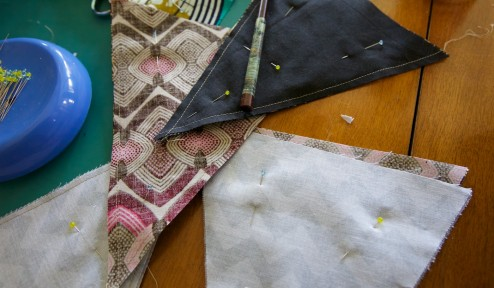 Jolly bunting with clashing African Fabrics - Jaunty Angles