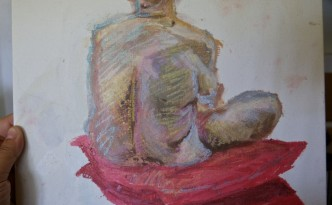 Life model, seated. Oil pastel on canvas board