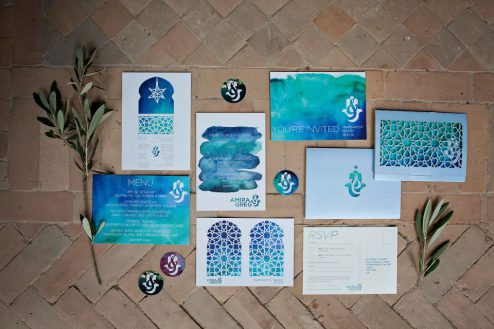 Traditional 'zillij' tile design inspired this print suite for a beautiful destination wedding in Marrakech